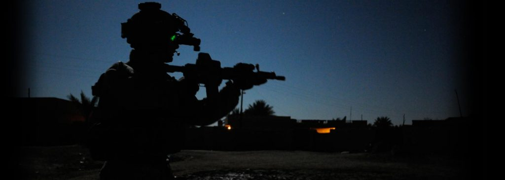 Night time Ranger patrol in Iraq